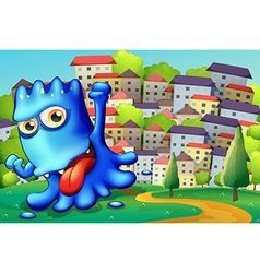 A boastful blue monster above the hill across vector