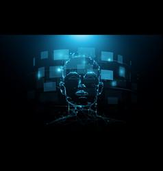 A portrait head human and digital screen virtual vector