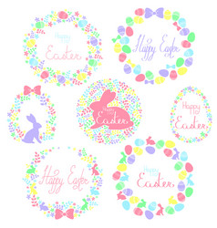 A set of easter wreaths vector