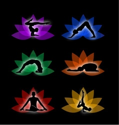 A set of yoga and meditation symbols vector