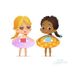 Afro american caucasian girl in swimsuit kid vector