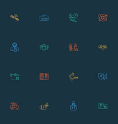Airport icons line style set with airport shuttle vector