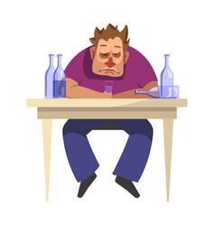 alcoholic man alcoholism people bad habits vector image
