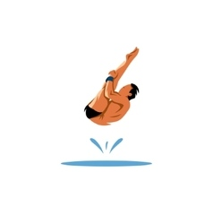 Athlete jumping into the water vector image vector image