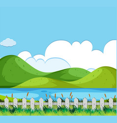 Background scene with hills and river vector