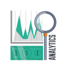 Bill cash and chart investment concept vector
