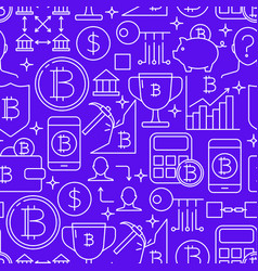 bitcoin seamless pattern in thin line style vector image