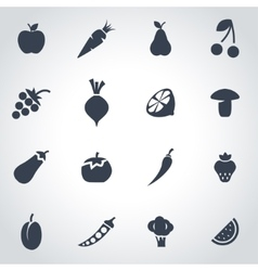 black fruit and vegetables icon set vector image