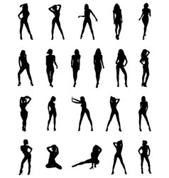 Black silhouettes of girls vector