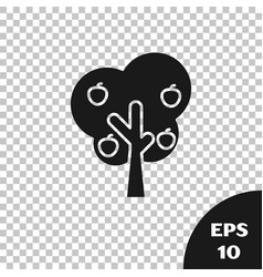 Black tree with apple icon isolated on transparent vector