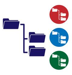 Blue folder tree icon isolated on white background vector