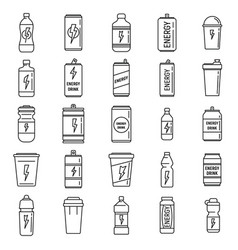 Boost energetic drink icons set outline style vector