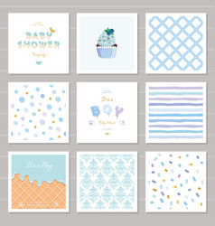 Boy baby shower templates seamless patterns set vector