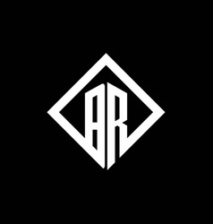 br logo monogram with square rotate style design vector image