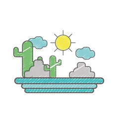 cactus with sun natural aventure vector image