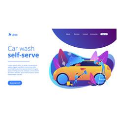 Car wash service concept landing page vector