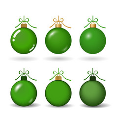 christmas tree ball with ribbon bow green bauble vector image