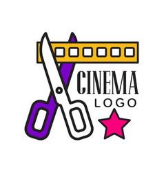 cinema logo template creative design vector image