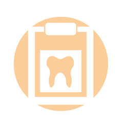 Clipboard with human tooth isolated icon vector