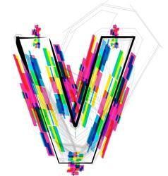Colorful Font Letter V vector