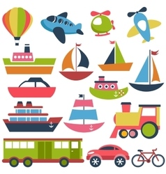 Colorful transport icons collection vector
