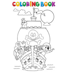 Coloring book vessel with pirates vector