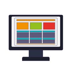 computer screen website blue lines vector image