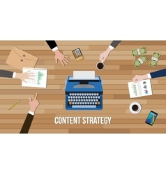 content strategy concept team work together with vector image