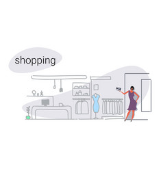 customer woman holding credit card choosing new vector image