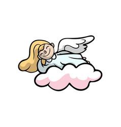 Cute blonde hair angel smiling on pink cloud vector