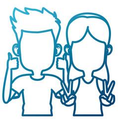 Cute kids friends cartoon vector