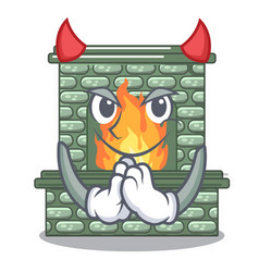 devil cartoon stone fireplace with the flame vector image