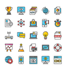 digital and internet marketing icons set 2 vector image