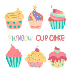 doodle hand drawn rainbow cute cup cake vector image