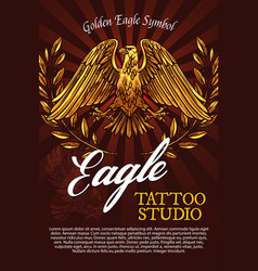 Eagle bird mascot or heraldry symbol poster vector