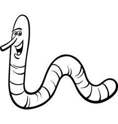 Earthworm cartoon coloring page vector