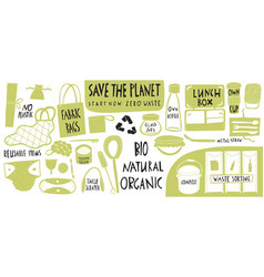 Eco style collection zero waste reusable items vector