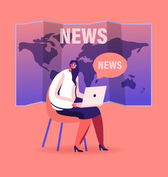 fake news concept female character with laptop vector image