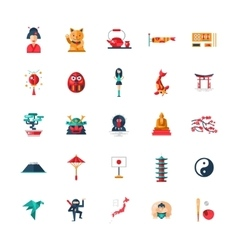 Flat design Japan travel icons infographics vector image