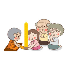 Girl and elderly couple offering buddhist lent vector