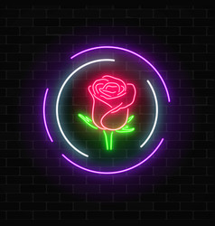 Glowing rose neon sign of flower shop in round vector