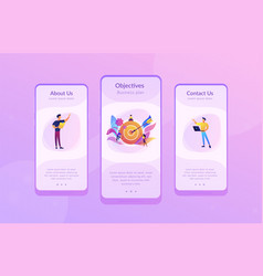 Goals and objectives app interface template vector