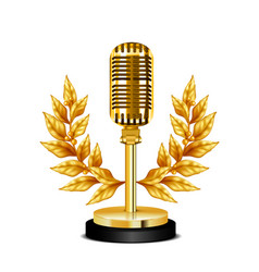 Gold award desktop microphone vector