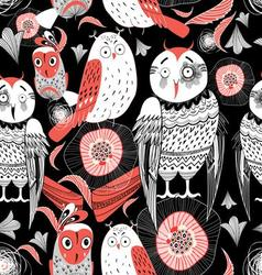Graphic pattern funny owl on a black background vector