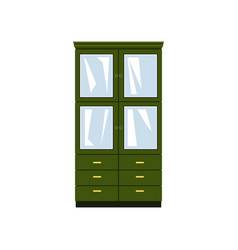 Green closet with glass doors and drawers vector