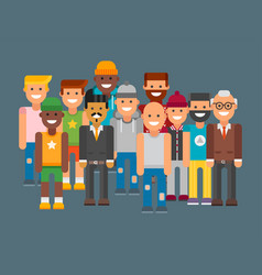 group of men portrait different nationality vector image