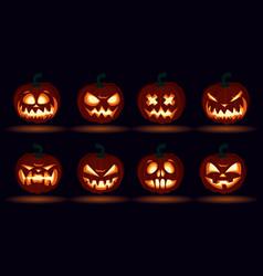 halloween carved pumpkin face emotions set jack o vector image