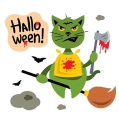 Halloween Cat flying on Witch Broomstick vector image