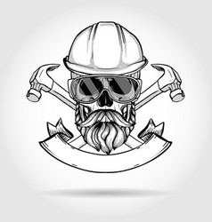 Hand drawn sketch skull with axes vector