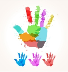 Hand of paint stains vector image